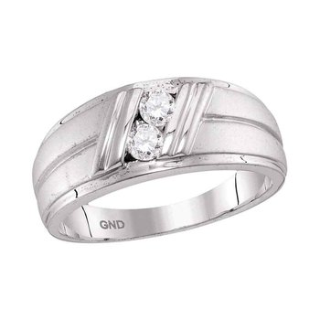 10kt White Gold Mens Round Diamond 2-Stone Wedding Anniversary Band Ring 1/3 Cttw
