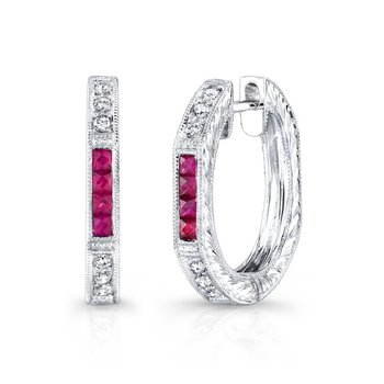 Vintage Ruby and Diamond Hoops