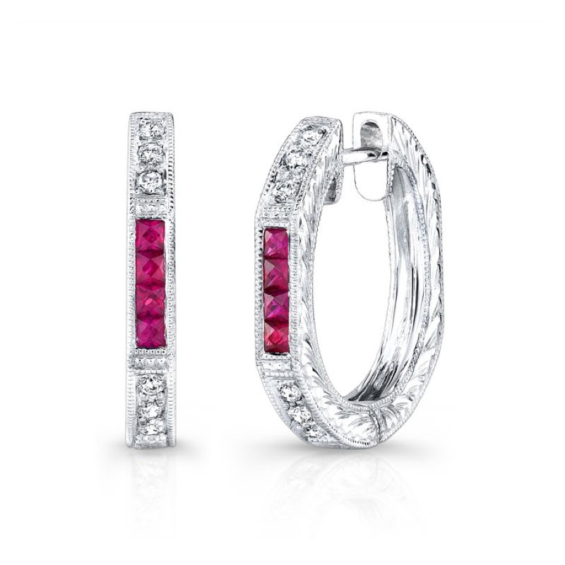 Beverley K Diamond & Ruby Hoops
