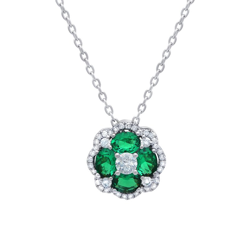 All I Adore Emerald and Diamond Cluster Pendant