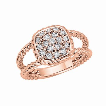 Diamond Large Cushion Ring in 14k Rose Gold with 19 Diamonds weighing .38ct tw.