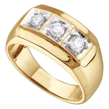 10kt Yellow Gold Mens Round Diamond 3-stone Fashion Band Ring 1/2 Cttw