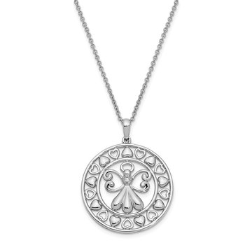 Sterling Silver CZ Angels On Assignment 18in. Necklace