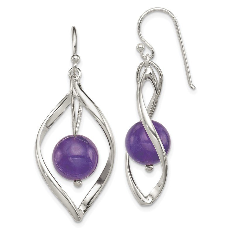 Quality Gold Sterling Silver Twist Dangle Amethyst Earrings