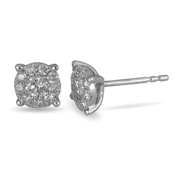 14K WG Diamond Galaxy Cluster Ear Studs 1 Ct Look