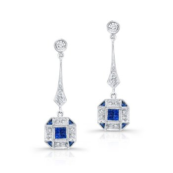 Vintage Inspired Diamond & Sapphire Earrings