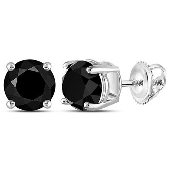 10kt White Gold Unisex Round Black Color Enhanced Diamond Solitaire Stud Earrings 5.00 Cttw