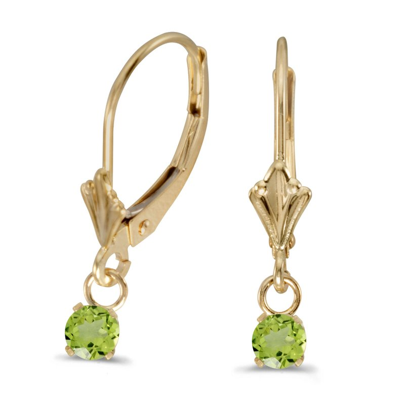 Color Merchants 14k Yellow Gold Round Peridot Lever-back Earrings