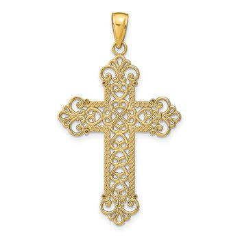 14K Polished Large Rope Frame Filigree Cross Pendant