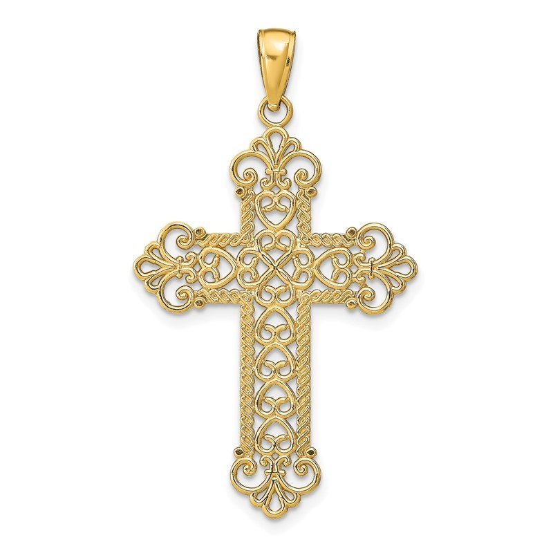 Quality Gold 14K Polished Large Rope Frame Filigree Cross Pendant