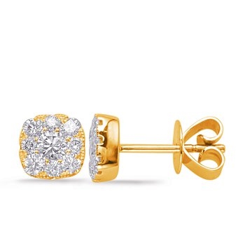 Yellow Gold Diamond Earring