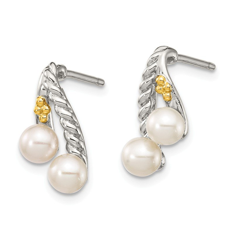 Shey Couture Sterling Silver w/ 14k Polished White Pearl Earrings