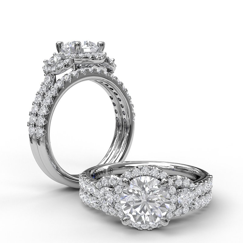 Fana Three Stone Halo Engagement Ring