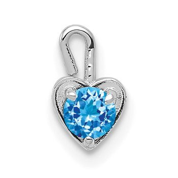 14k White Gold December Synthetic Birthstone Heart Charm