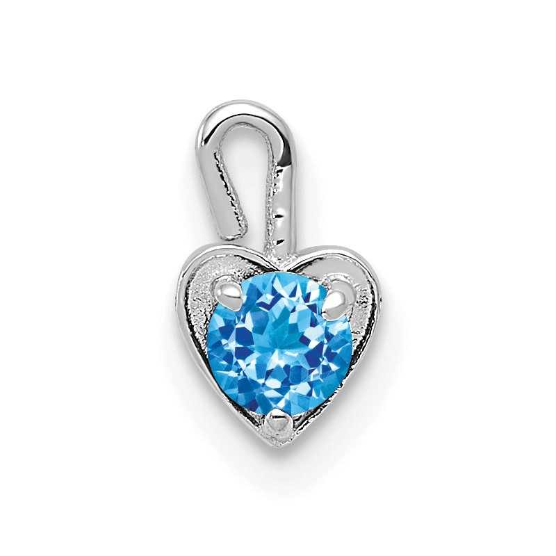 Quality Gold 14k White Gold December Synthetic Birthstone Heart Charm