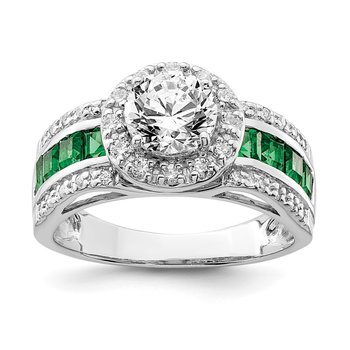Sterling Silver Rhodium-plated CZ & Lab Created Emerald Ring