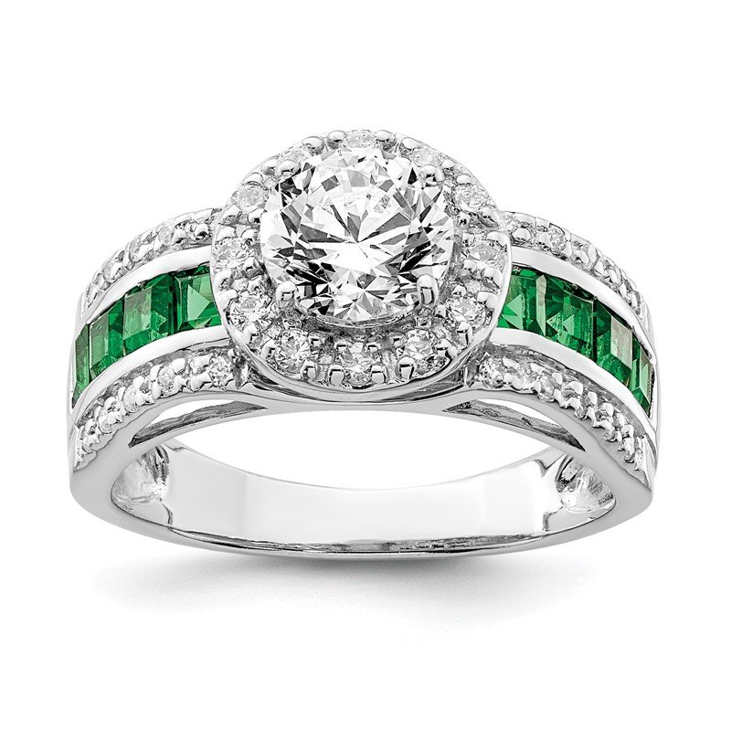 Lester Martin Online Collection Sterling Silver Rhodium-plated CZ & Lab Created Emerald Ring
