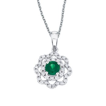 14k White Gold Emerald and Diamond Round Wave Pendant