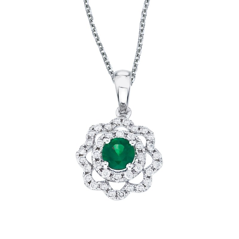 Color Merchants 14k White Gold Emerald and Diamond Round Wave Pendant