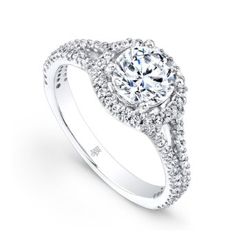 Halo Split Shank Vintage Bridal Ring