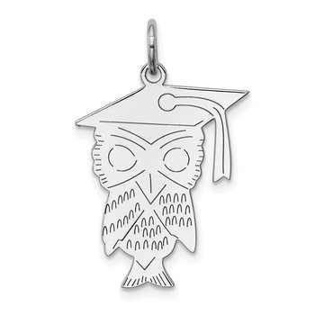 Sterling Silver Rhodium-plated Owl Polished Charm