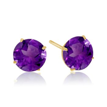 6mm Round 14k Yellow Gold Amethyst Stud Earrings