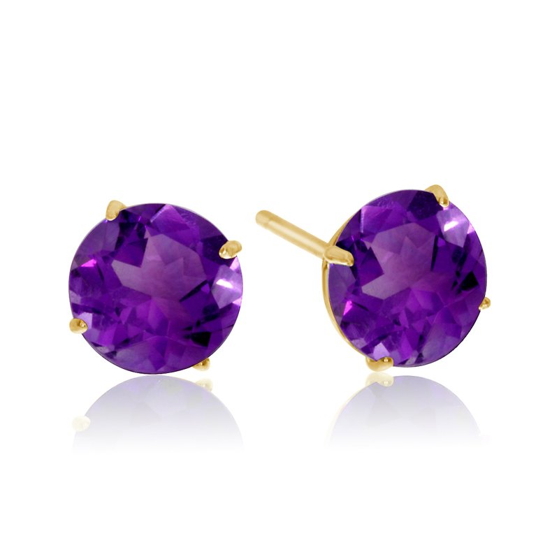 Color Merchants 6mm Round 14k Yellow Gold Amethyst Stud Earrings