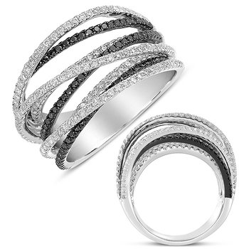 White & Black Diamond  Pave Ring