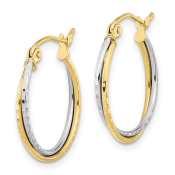 10k Two-tone Diamond Cut Twisted Hoop Earrings