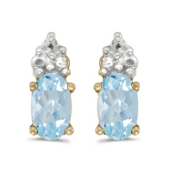 14k Yellow Gold Oval Aquamarine Earrings