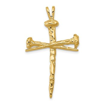 14K Polished Nail Cross Charm