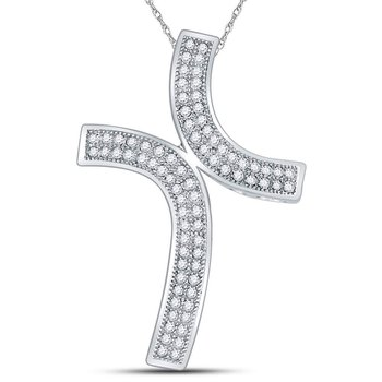 10kt White Gold Womens Round Diamond Bypass Cross Faith Pendant 1/4 Cttw