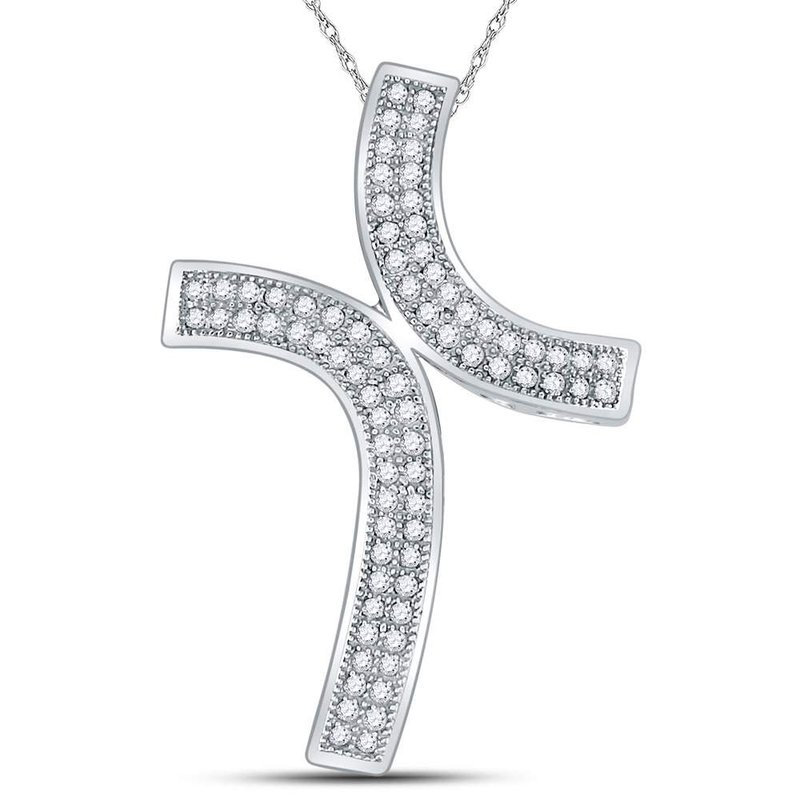 Gold-N-Diamonds, Inc. (Atlanta) 10kt White Gold Womens Round Diamond Bypass Cross Faith Pendant 1/4 Cttw