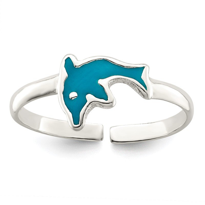 Quality Gold Sterling Silver Polished Enameled Dolphin Toe Ring