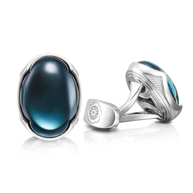 Tacori Fashion Oval Cabochon Cuff Links featuring Sky Blue Hematite