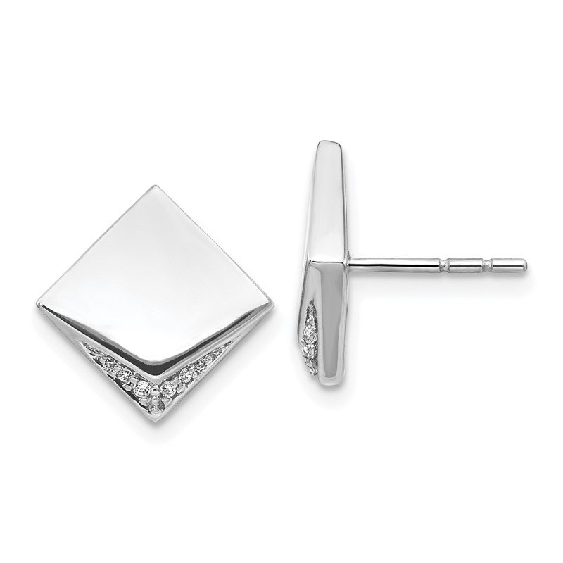 Quality Gold 14k White Gold Diamond Fancy Square Earrings