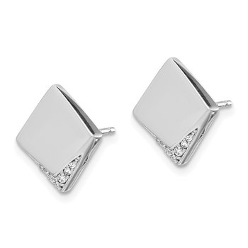 14k White Gold Diamond Fancy Square Earrings