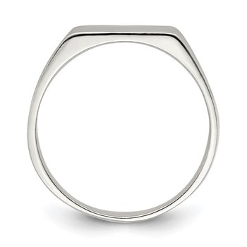 Sterling Silver 11x9mm Solid Back Signet Ring
