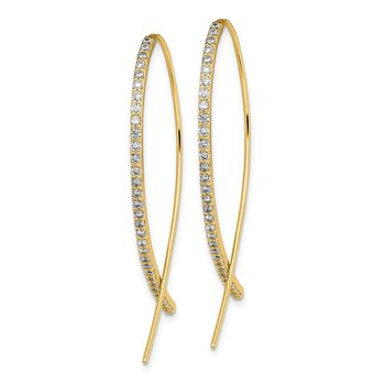 Sterling Silver Gold-tone CZ Threader Earrings