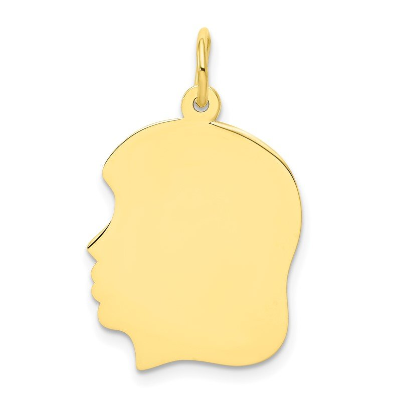 Quality Gold 10K Plain Medium .018 Gauge Facing Left Engravable Girl Head Charm