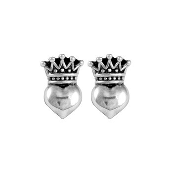 Baby Crowned Heart Post Earrings