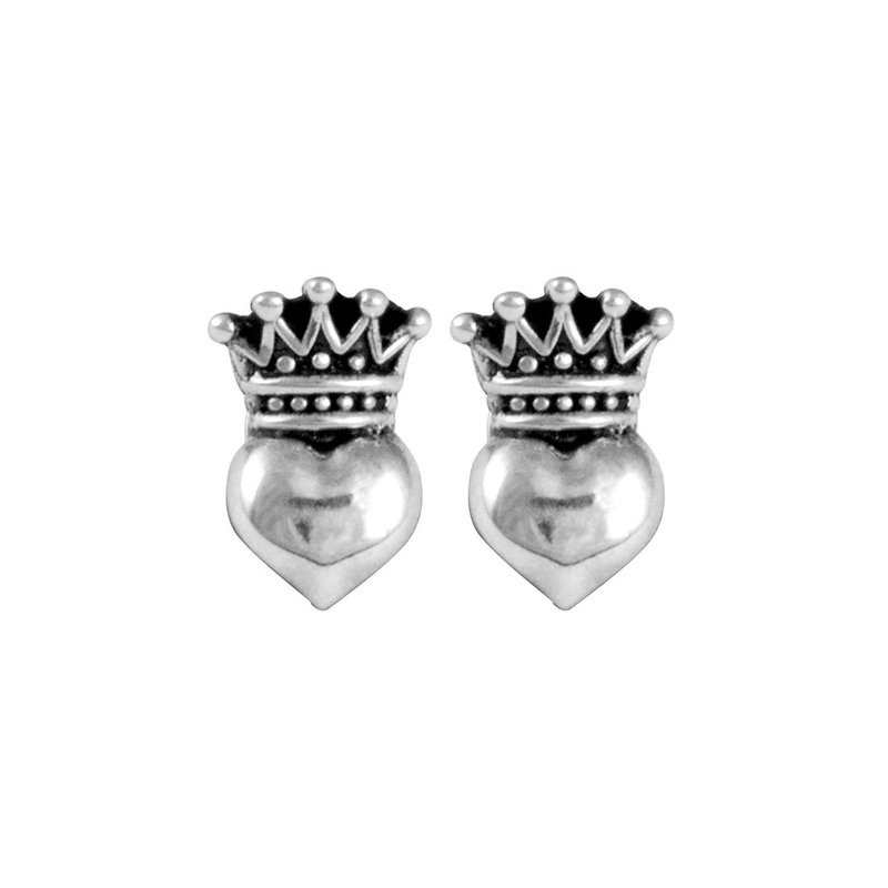 King Baby Baby Crowned Heart Post Earrings