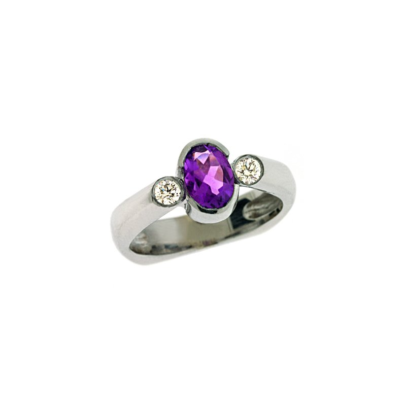 S. Kashi  & Sons Amethyst & Diamond Ring