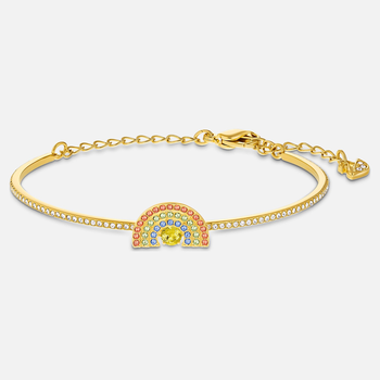 Swarovski Sparkling Dance Rainbow Bangle, Light multi-colored, Gold-tone plated