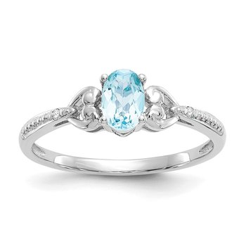 10k White Gold Swiss Blue Topaz and Diamond Ring