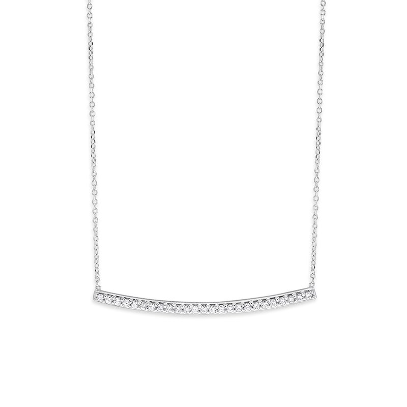 KC Designs Diamond Bar Necklace in 14K White Gold with 25 Diamonds Weighing .25ct tw