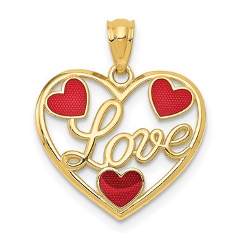 14k Red Enameled LOVE Hearts Pendant