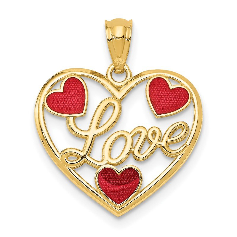 Quality Gold 14k Red Enameled LOVE Hearts Pendant