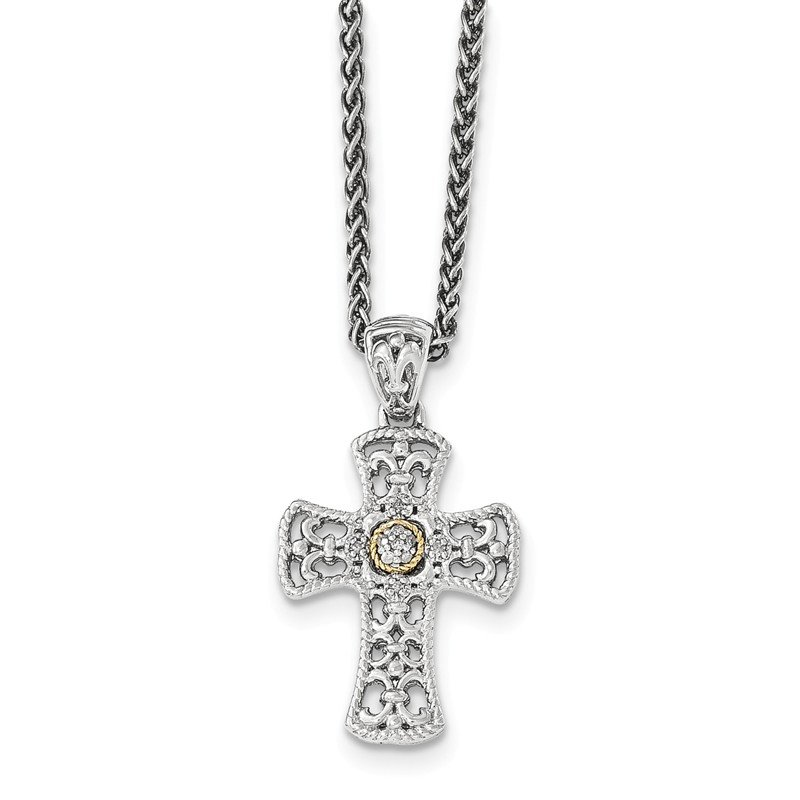 Shey Couture Sterling Silver w/14k Diamond Cross Necklace