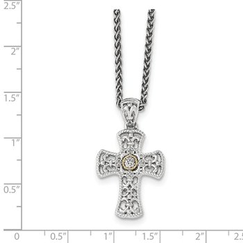 Sterling Silver w/14k Diamond Cross Necklace